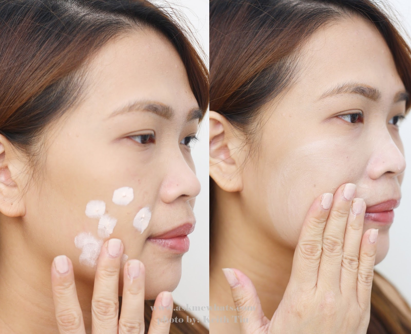 Before and after photo using Etude House Beauty Shot Face Blur review