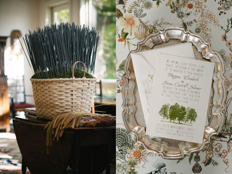 wedding sparklers tucked into moss in a large wicker basket