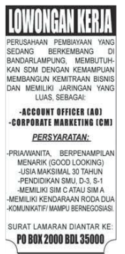 Lowongan Kerja Account Officer & Marketing