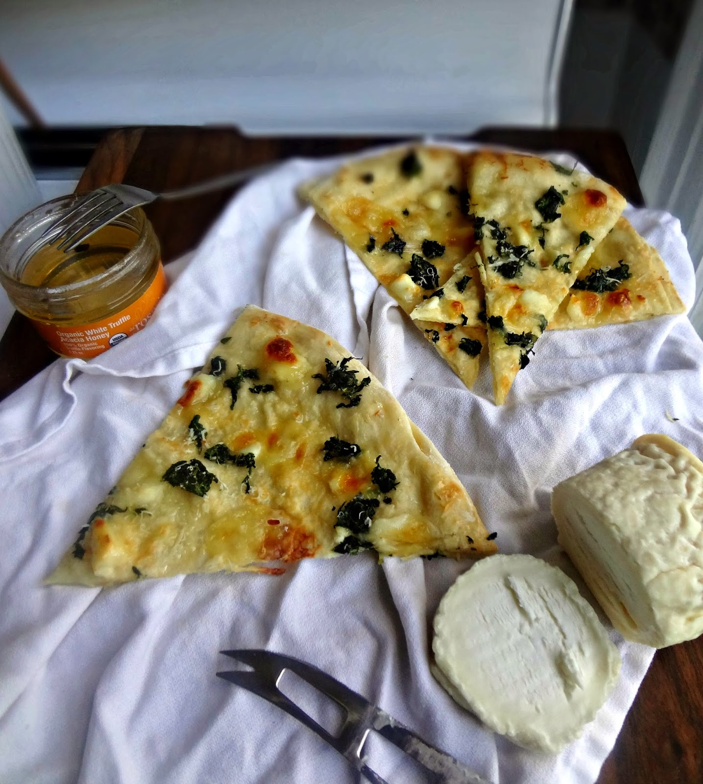 The Cooking Actress: Chevre and Spinach Pizza with Truffle Honey-Goat ...