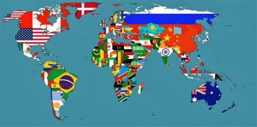 El mapa de las banderas del mundo