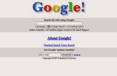 Tampilan Situs Populer Saat Pertama Kali Dirilis