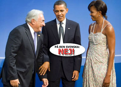 Dominique Strauss-Kahn och det amerikanska presidentparet Barack och Michelle Obama under G20-mötet 2009 i Pittsburgh i USA.