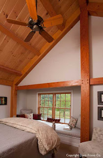 cathedral ceiling timber frame bedroom