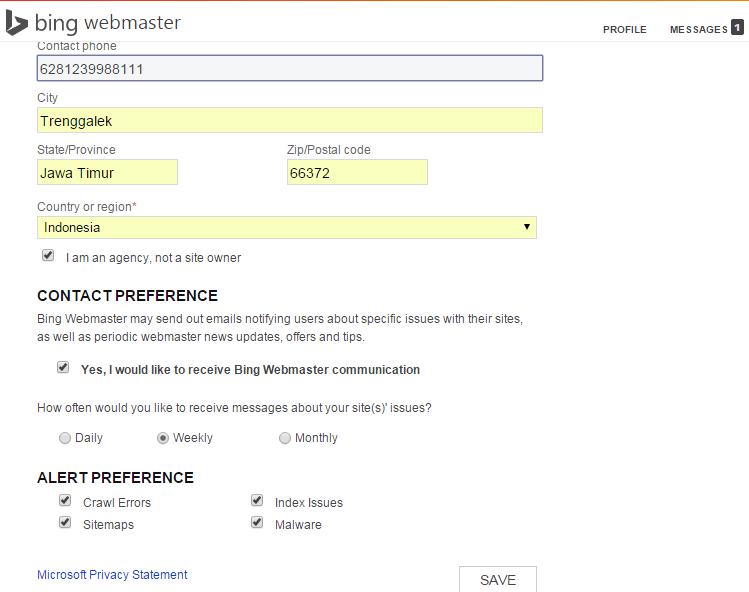 Langkah-langkah mendaftarkan situs di Bing Webmaster Tools 3
