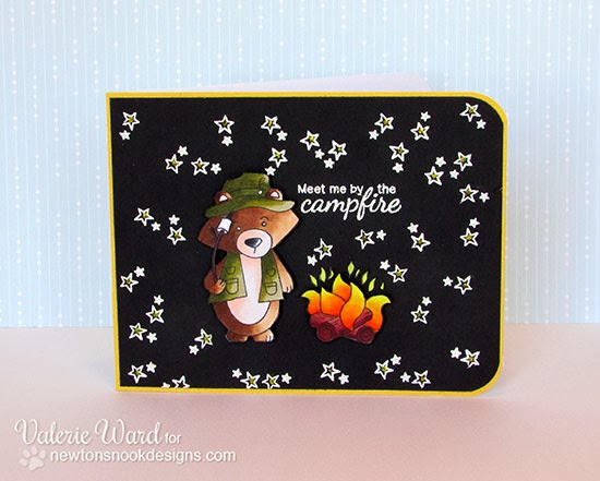 Fishing Bear Card using Campfire Tails Stamp set by Valerie Ward for Newton's Nook Designs