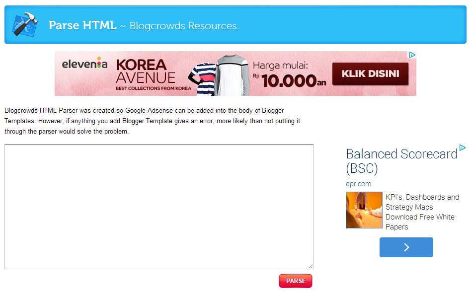 Parse HTML - Memasang Google Adsense di Body Blogspot 1