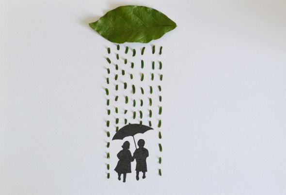 Tang Chiew Ling illustrations design fashion lyrical leaf leaves nature Lovely couple walking in the rain
