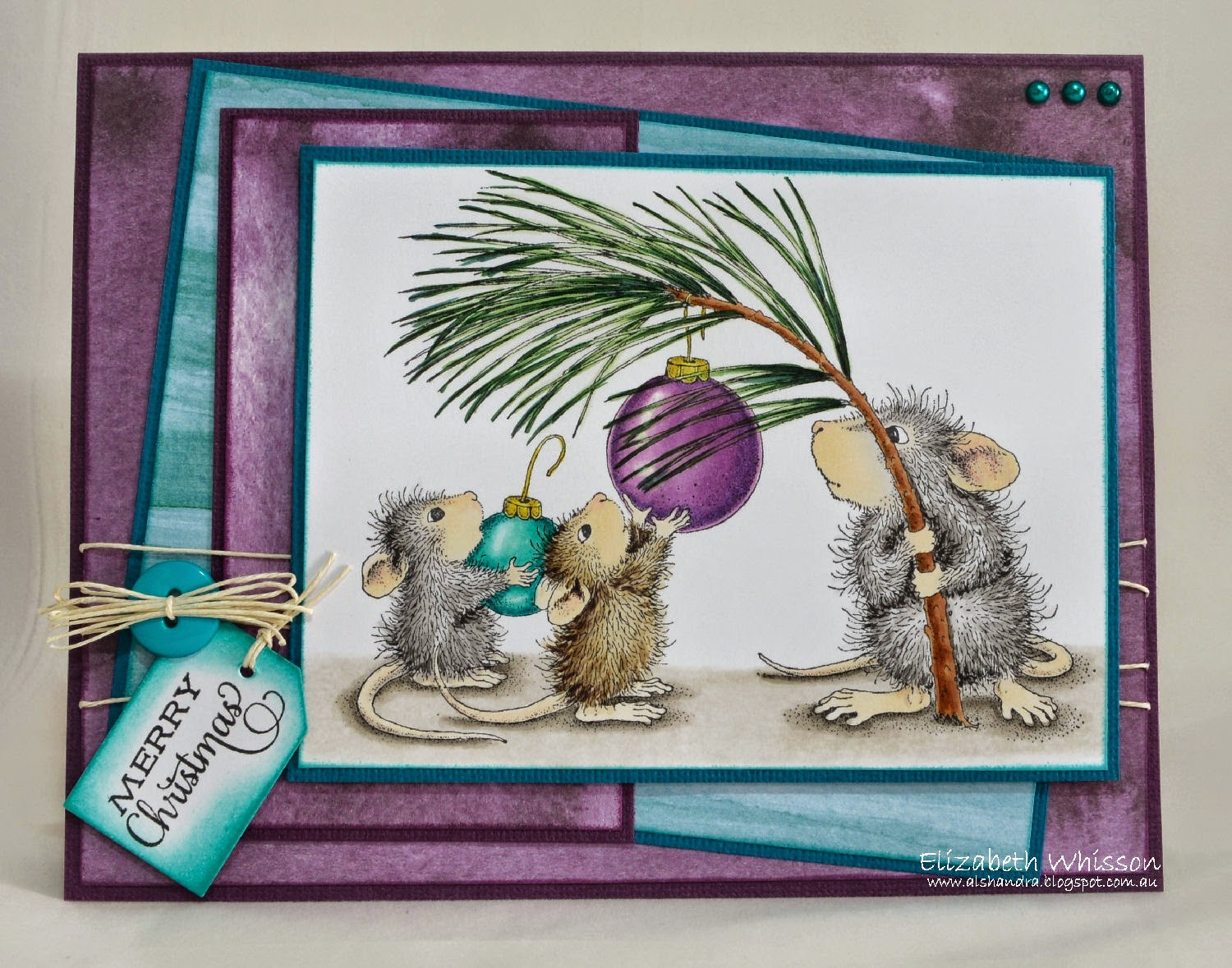 Elizabeth Whisson, Stampendous House Mouse Designs, Deck the Halls, Copics, Christmas, handmade card
