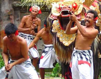 Sometimes the barong dance performances, there was a terrible scene, which has to stab himself with a dagger