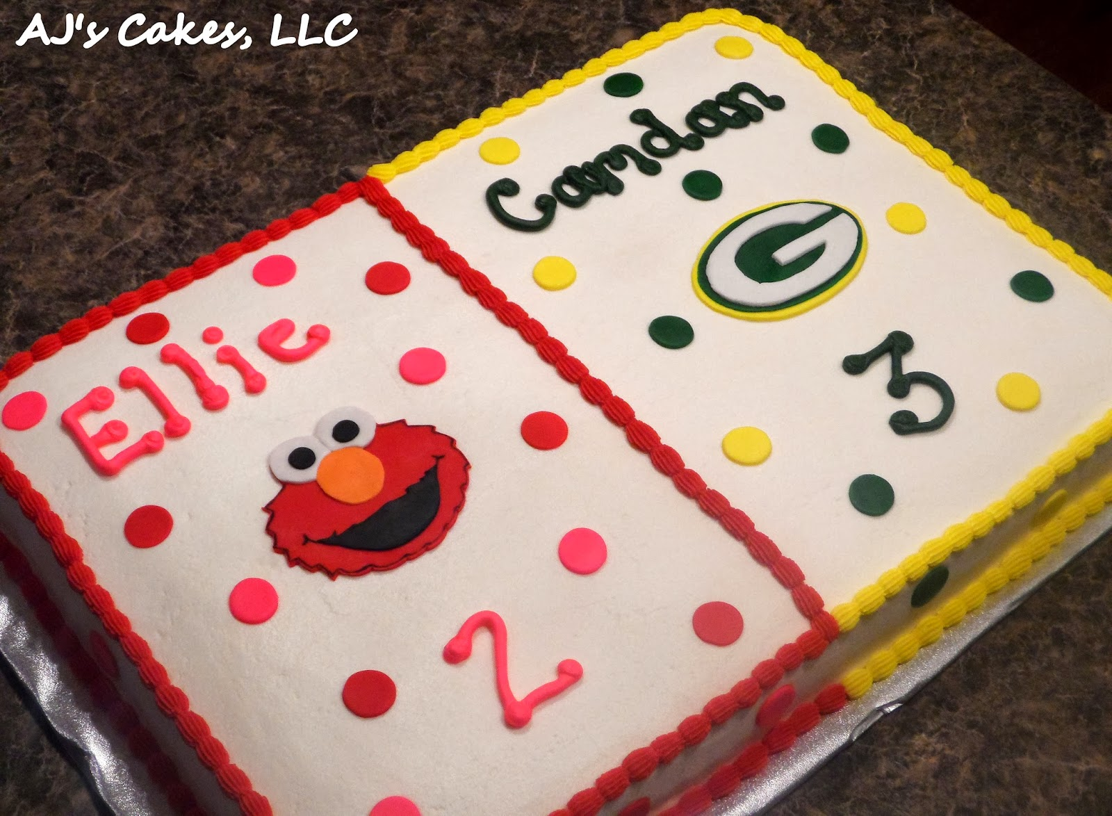 Ajs Cakes Elmo And Green Bay Packers Cake