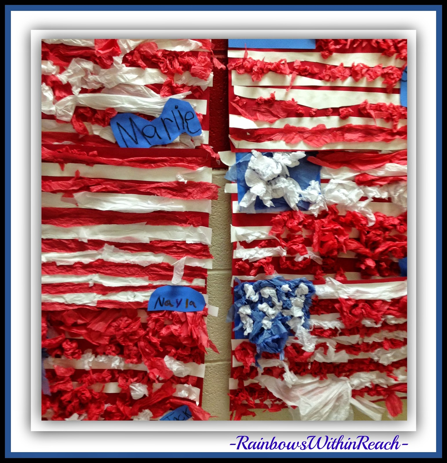 Details of Tissue Paper US Flags in Kindergarten at RainbowsWithinReach