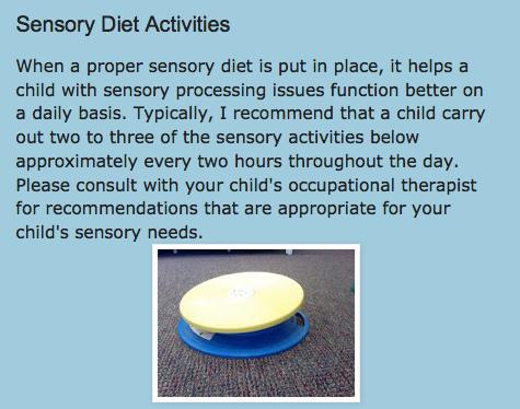 http://drzachryspedsottips.blogspot.com/2013/06/sensory-diet-example.html