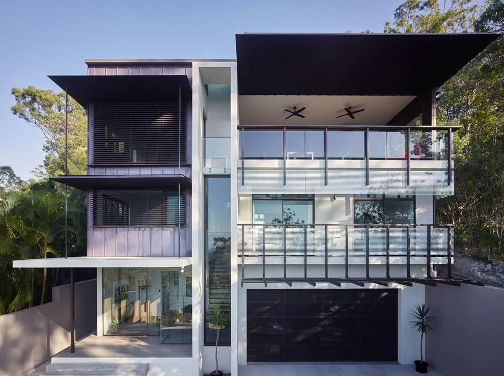 50 fotos de fachadas de casas modernas peque as bonitas - Casas estrechas y largas ...