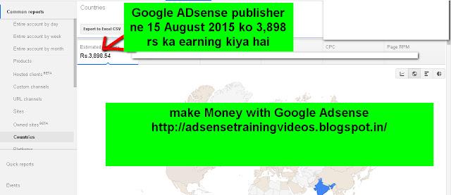 Google Adsense publisher ne 15 August ko 3,898 rs ka earning kiya hai-see screenshot