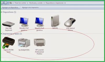 Список принтеров в Windows 7