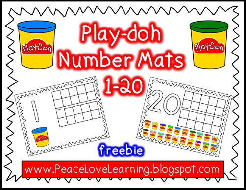 PlayDoh Number Mats Freebie from Peace,Love and Learning
