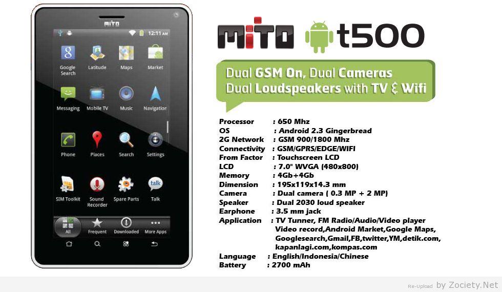 Mito t500 adalah Handphone tablet android dengan layar sentuh yang ...
