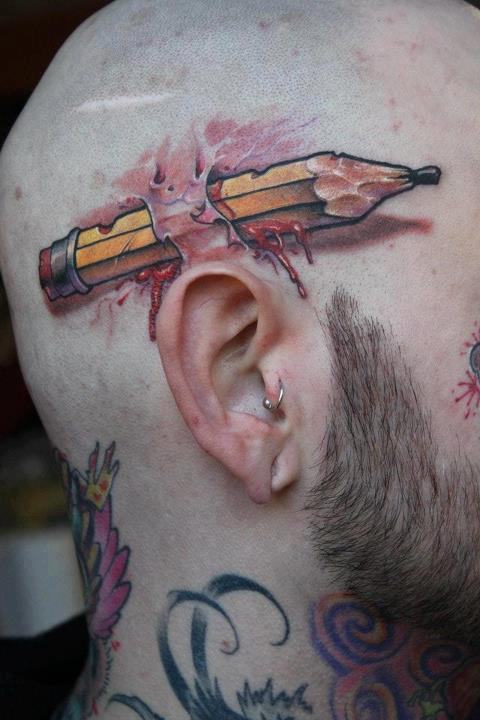 3D Pencil and wound tattoo on head