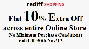 EnjoyFlat 10% Extra Off on All Products across Rediff Shopping Website (Valid till 30th Nov'13)