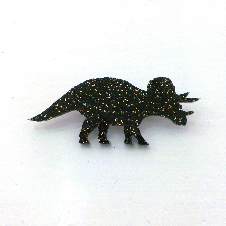 designosaur Triceratops Glitter Dinosaur Brooch