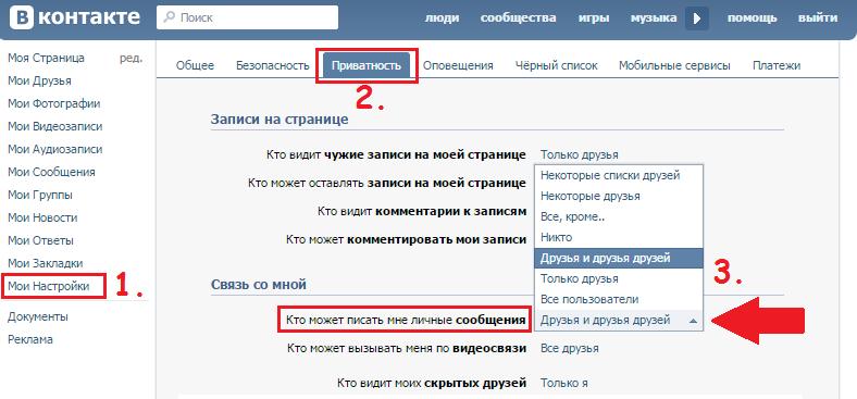 Запрет писать сообщения В Контакте