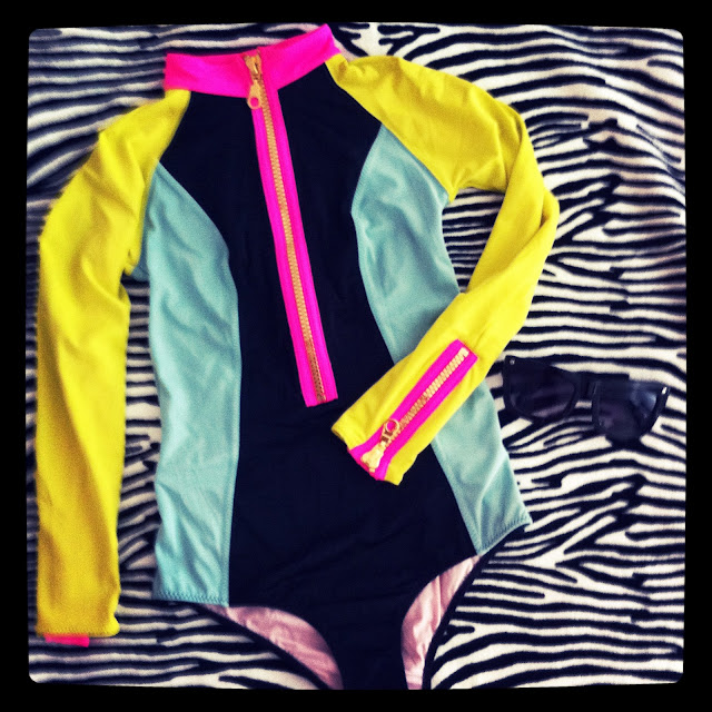 H&M swimsuit neon with gold zipper