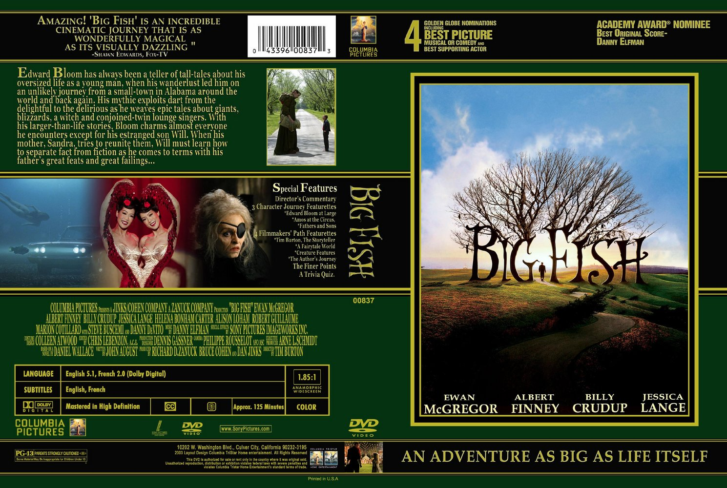 Big Fish Movie Dvd Front back Cover