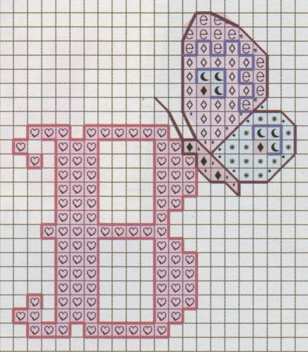 Professione donna schema punto croce l 39 alfabeto con le for Farfalle punto croce