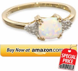 Opal Diamond Ring 10k Yellow Gold, October BirthStone