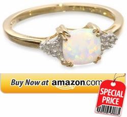Opal Diamond Ring 10k Yellow Gold, October BirthStone