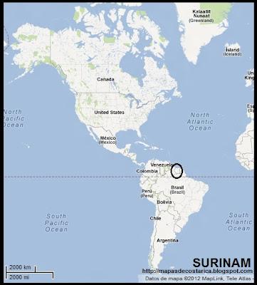 Ubicación de SURINAM en América (googlemaps)