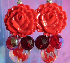 Cute flower earrings with red buttons and fire polished czech beads