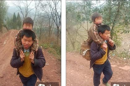 Perjuangan Pria di China Naik Turun Bukit Demi Pendidikan Anaknya