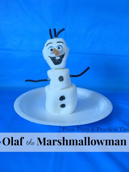 Vintage, Paint and more... Olaf marshmallow treat by Pam's Party and Practical Tips