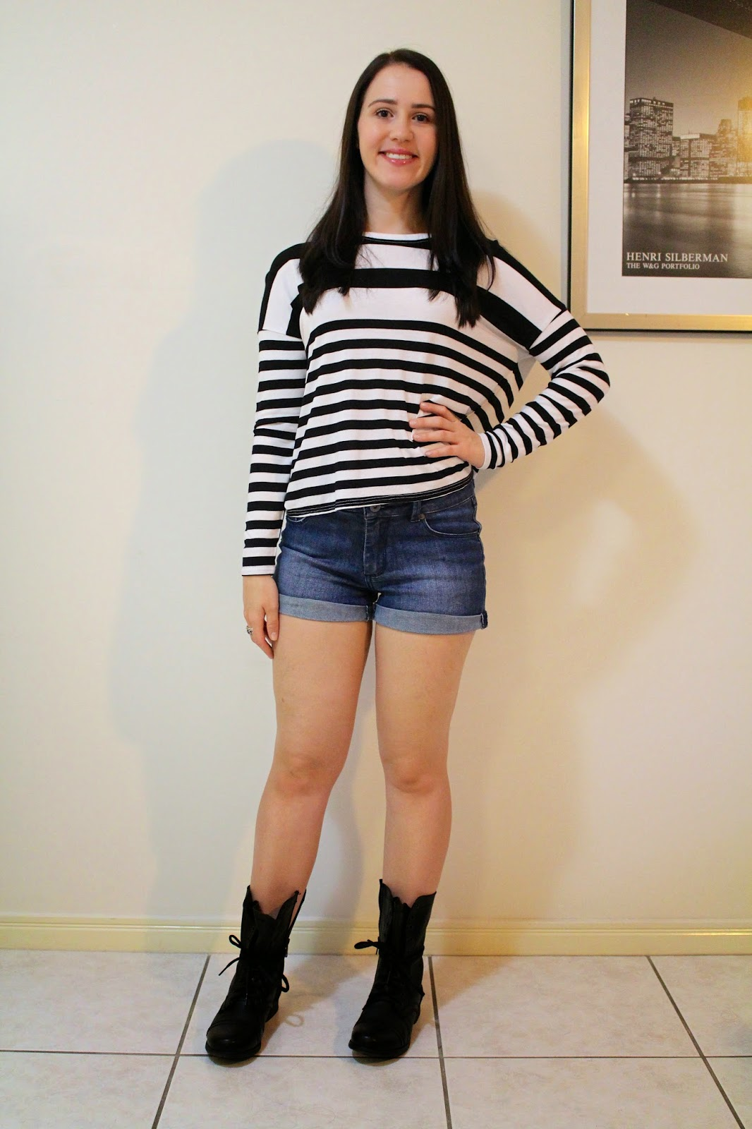 Dark wash high waisted shorts, striped boxy top, black combat boots, pandora rings, uni outfit, everyday outfit, college outfit, petite outfit,