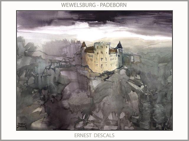 WEWELSBURG-CASTILLO-PINTURA-PADEBORN-SS-ARTE-ALEMANIA-PAISAJES-PINTOR-ERNEST DESCALS-