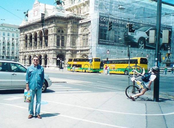 Fotos tiradas no momento exato - Bicicleta post batida