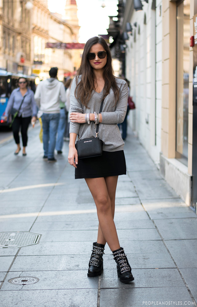 chain ankle biker boots, mini skirt, grey sweater and Michael Kors cross body bag street fashion, skirt outfit with ankle boots, Zagreb subota street