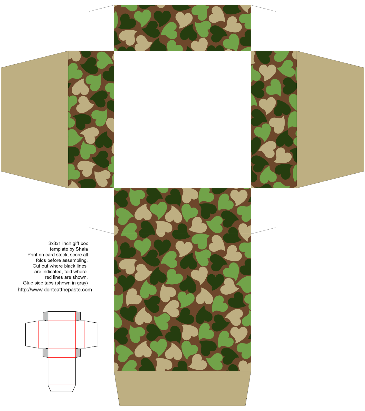 Printable woodland camouflage hearts gift box- 2 sizes available #Valentine #papercrafts