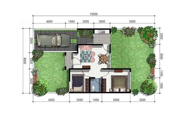 contoh denah rumah minimalis type 45 terbaru hobi burung