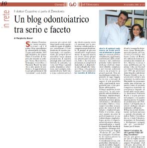 ARTICOLO SUL BLOG ZERODONTO TRATTO DAL GIORNALE DELL'ODONTOIATRA (del 30 Settembre 2008)