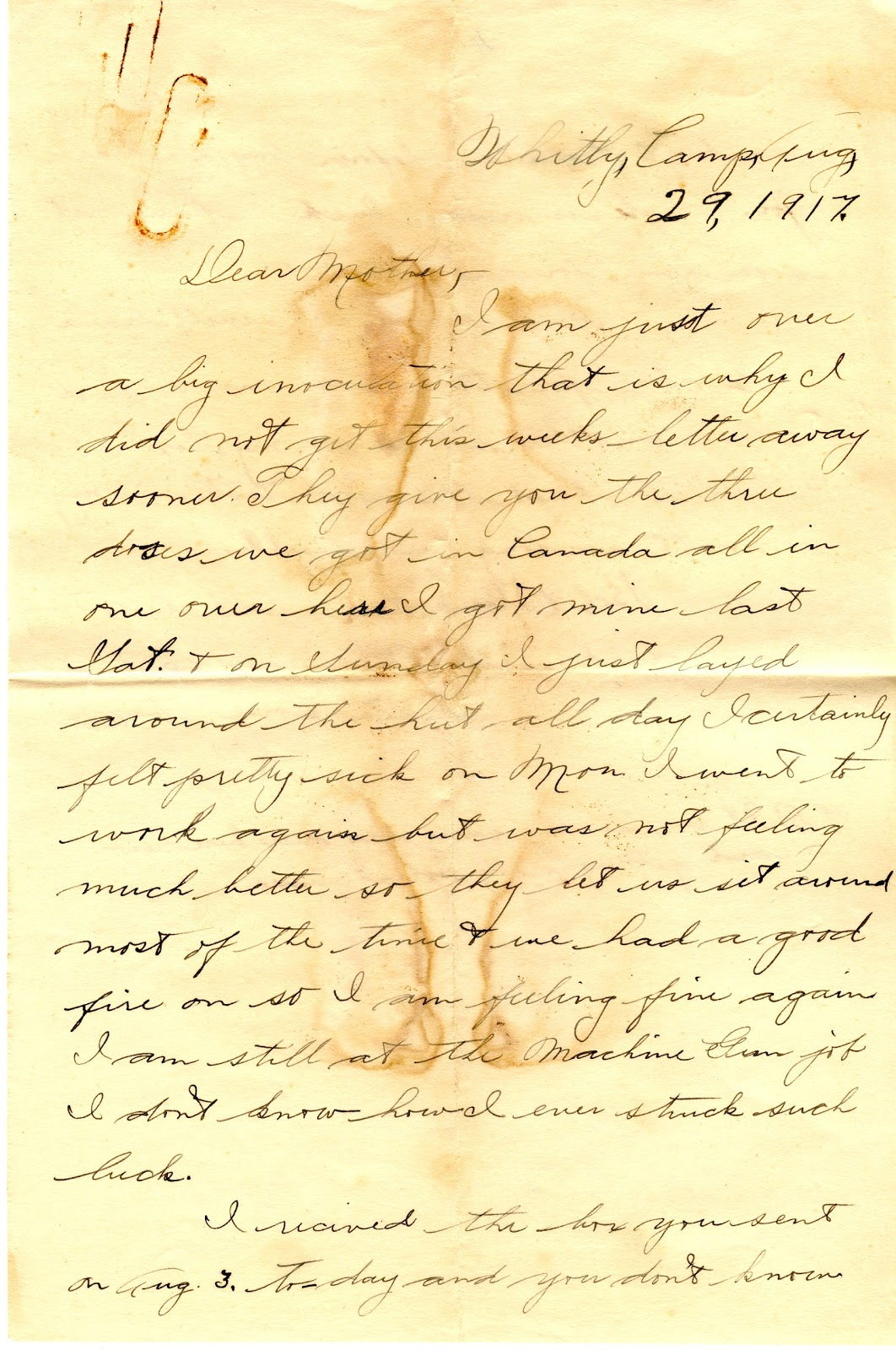 Letters From World War One August 29 1917 Witley Camp
