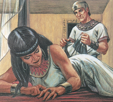 Potiphar's wife was angry. She told Potiphar lies about Joseph. She said Joseph tried to rape her. Potiphar believed his wife (Genesis 39:16–20).