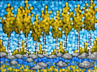 Golden Season, Aaron Kloss painting, pointillism, art of hair on first, gold birch trees