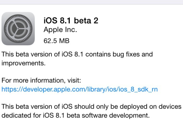 Download iOS 8.1 Beta 2 OTA