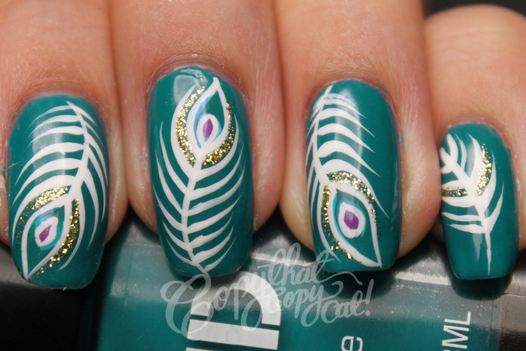 Peacock feathers nail art copy that copy cat the colour came out more blue than green in the photo and even after editing the colour isnt the same at all but similar its meant to be dark prinsesfo Gallery