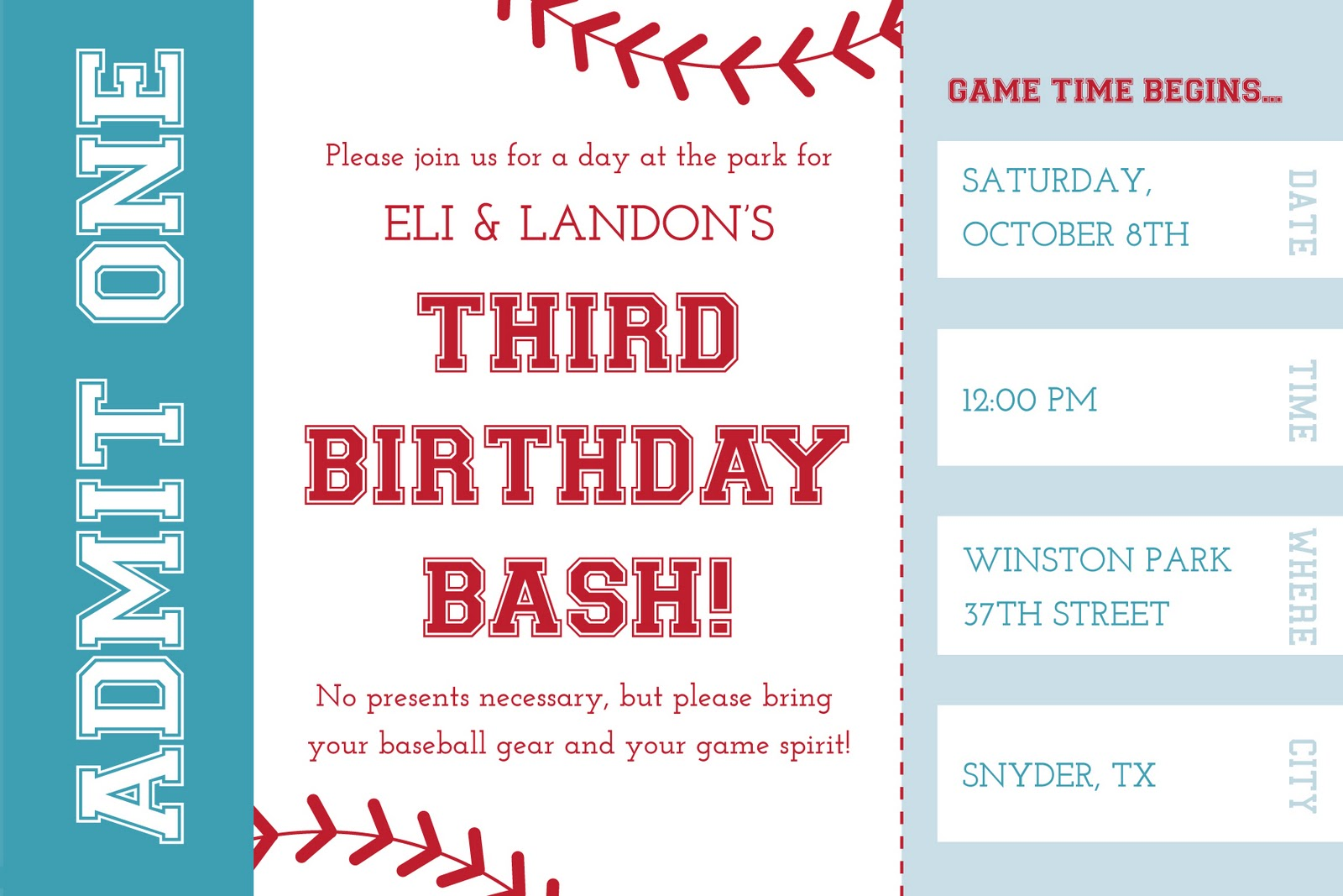 The Grigsby Family: Eli & Landon\'s 3rd Baseball Party