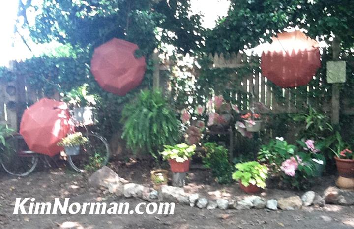 stone stoop backyard umbrellas