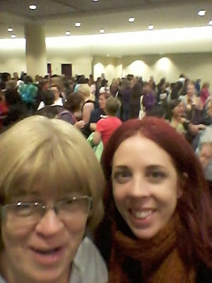 My Mom and I waiting in line at The National Women's Show in Toronto. Fashion,beauty, travel fitness an Convention Centre
